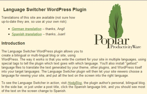 Language Switcher WordPress Plugin